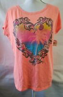 Aeropostale Orange Topical Heart T-Shirt Tee Shirt Size M NWT