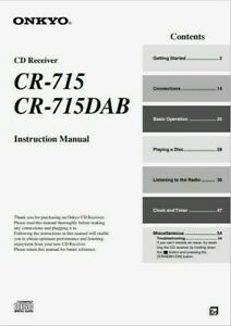 Onkyo CR-715 DAB - CD Receiver Component System - Instructions - USER MANUAL