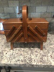 Vtg Expandable Folding Accordion Wood Sewing Box Basket Dovetailed