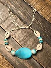 Shell Anklets Adjustable, Surfer Bracelet, Turquoise Anklet Cowrie Bracelet