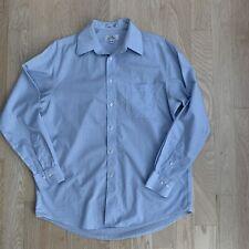 ENRO Blue Dress Shirt Mens Size 16 34-35 Non Iron Cotton Long Sleeve Pocket EUC
