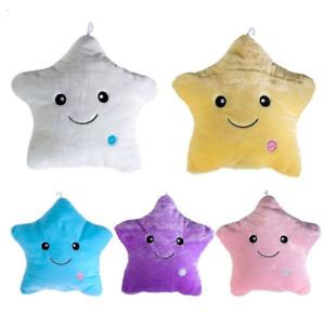 LED Light Up Glow Luminous Pillow Smile Star Waist Cushion Plush Throw Pillows