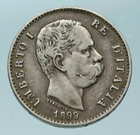 1899 ITALY with King Umberto I Genuine Antique Silver Lire Italian Coin i83892