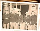 1940's military photograph, 5 men in uniform, officers, airfield