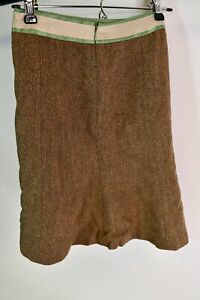 Ann Taylor Loft Petites Women's Brown Wool Houndstooth Skirt Green Trim Size 0P