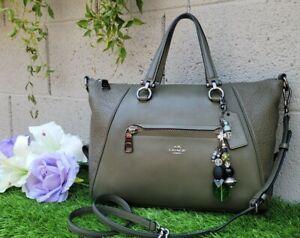 COACH 55532 surplus army Green MIXED LEATHER PRIMROSE SATCHEL purse crossbody