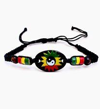 Rasta Leather Wrist Bracelet Peace Yin Yang Hippie Negril Dub Reggae Marley RGY