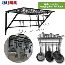 Pot and Pan Hanging Rack 10 Hook Ceiling Mount Oval Wrought Iron Holder Cookware