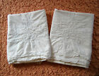 Vintage+embroidered+white+floral+cottage+shabby+chic+cutter+pillowcases+pair+