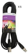 DMX Cable 5-Pack DMX Leads Pro Lighting Cables 10m 3 Pin DMX XLR Connections
