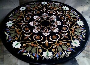 48 x 48 Inches Marble Meeting Table Top Inlay with Antique Work Dining Table