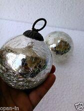 Old Heavy Glass 3.1'' Silver Crackle Design Christmas Kugel Ornaments Home Decor