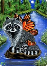 Original Raccoons Baby Creek Forest Butterfly Wings Moon Spring  ACEO Print