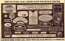 Chiswick. Reliance Engraving Co Advert. Nameplates.