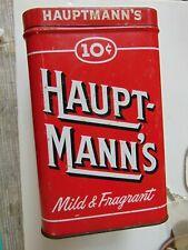 Haupt-mann's Cigar Vintage Tin 10 Cents 25 Count Cigar Metal Box Hauptmann's TIN