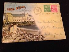 Vintage Postmarked 1953 Long Beach California Postcard Booklet With 18 Scenes