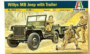 Jeep Willys con Rimorchio e Figurini - scala 1:35 Kit Italeri 314