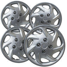 "4 Pc Set of 15"" Inch Silver Hub Caps Full Lug Skin Rim Cover for OEM Steel Wheel"