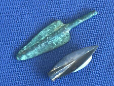 Bronze Age, two bronze arrowheads, one early tanged, one later socket three edge