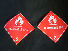 "2 Labels FLAMMABLE GAS 2 Red/White 4"" x 4"" Self Adhesive Paper Sticker NEW"