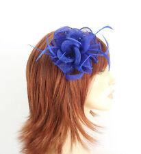 Royal Blue endurecidas Ventilador, Flor, loops, perlas y el Pelo Fascinator de la pluma de pulverización