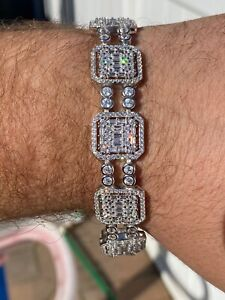 "Men's Real Solid 925 Silver Iced Baguette Tennis Bracelet Flooded Out 16mm 7.5"""
