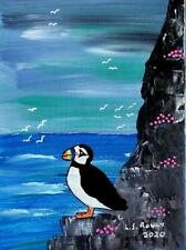More details for puffin & sea pinks b  original scottish impressionist oil painting  l s rowly