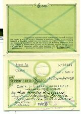 TESSERA - Carta di Circolazione FERROVIE DELLO STATO 1929