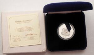 1984 Western Samoa $1 Piedfort Sterling Silver Proof Coin 1 Oz ASW + BOX & COA