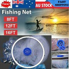 8ft 16ft Fishing Cast Net Quick Throw Nylon Mesh Drawstring Chain Bottom Spread
