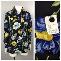 Vintage NOS 1970s Blue and Black Floral Print Button Up Smock Shirt Blouse M