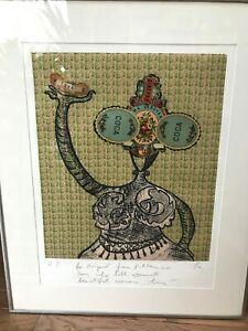 ENRICO BAJ Signed Etching 1973 Italian Art Pop Art Coca-Coca