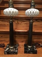 "2 RARE VINTAGE ITALIAN MARBLE LAMPS STUNNING MINT! 32"" HIGH MATCHING ITALY HEAVY"