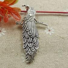 Free Ship 20 pieces tibetan silver peacock pendant 60x33mm #632