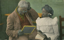 Black Americana PC *Grand-Pap Embarrased c. 1908 *Illiterate Can't Read Literacy