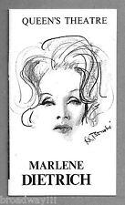 An Evening With MARLENE DIETRICH / Burt Bacharach 1972 London Playbill