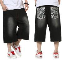 Plus Size Mens Jeans Shorts Hip Hop Capri Pants Loose Distressed Black W30- W46
