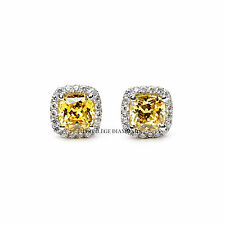 Stud Earrings 4ct Carat Cushion Cut Fancy Yellow VVS1 Diamond 18k Gold Halo