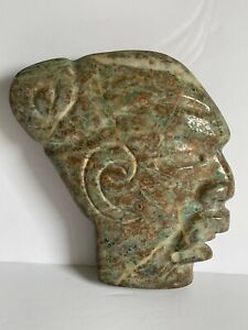 Pre Columbian Vintage Ceremonial Mayan Maya Carved Stone Head Face HACHA 8 1/2""