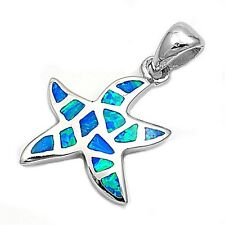 925 Sterling Silver Starfish Pendant with Blue Opal - 18 mm