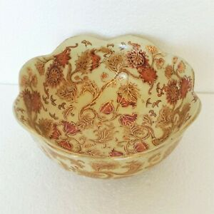 Vintage Centerpiece Bowl Asian Floral Designs Scalloped Rim Gold Gild Ceramic