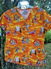 What's Up Doc BUGS BUNNY Sylvester Elmer Fudd Taz Devil Womens Scrubs Top Sz S ~