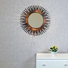 Xenna Antique Copper Sunburst Rays Light Wall Mirror