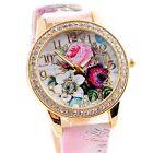 Montre Tendance Pour Femme Cadran Fleurs Bracelet Rose Women Watch PROMO