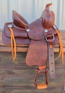 "12"" High Back Kids Children Brown Leather Mini Pony Leather Saddle"