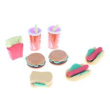 8PCS Plastic Children Kids Hamburger Chips Cola Food Pretend Role Play Set FD