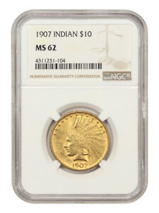 1907 $10 NGC MS62 (No Motto) Scarce First Year Type Coin