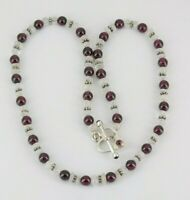 "925 Sterling Silver Garnet & Moonstone Necklace 17"" Long"