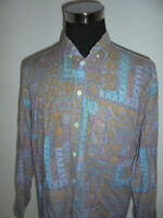 vintage MANNERS 80s Hemd crazy pattern shirt new wave oldschool Viskose L