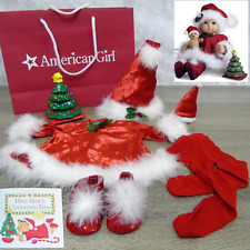 American Girl Bitty Baby SANTA'S HELPER Christmas Outfit Stacking Tree AG Bag +